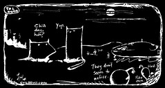 """""""chill day, huh?"""" - a Yo and Dude comic by eric Hews  2014 (eric Hews) Tags: life boy party people usa dog cats white black color cute dogs girl illustration cat puppy fun virginia is photo puppies kitten funny eric pix artist comic image action drawing web yo humor cartoon emo picture kitty free kittens pic humour richmond aliens dude photograph independent ugly despair comicstrip conversation spaceship gif express jpg create toon jpeg something say cartoons meaning bandes repeat observations antidote bipolar blague dessiner observational hews inkblobs yodude erichewscom yoanddude 2008erichews"""