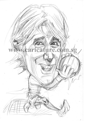 Caricature of Edwin Van Der Sar pencil sketch watermark