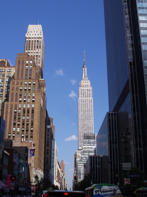 Empire State Building seen from 8th Avenue on 34th Street, Manhattan, NYC