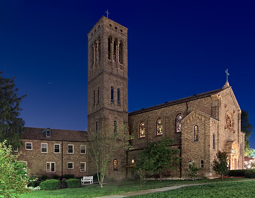 Discalced Carmelite Monastery, in Ladue, Missouri, USA - exterior at night