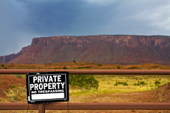 A Good Photographer NEVER Follows the Rules (Michael Zahra) Tags: usa sign america private utah property trespass moab fishertowers troble mg3660ps001