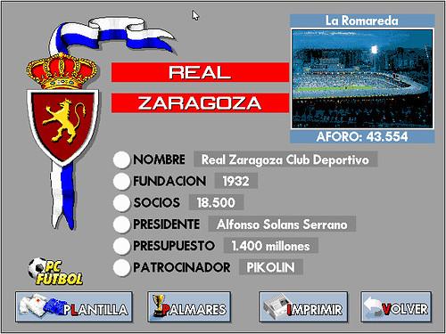 Ficha del Real Zaragoza con foto digitalizada de La Romareda en PC Fútbol 2.0