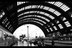 """""""Milano; Train traffic"""" (The Mexican Chavalito) Tags: urban bw tren milano trains e stazione bianco nero"""