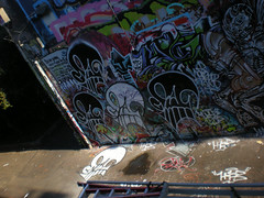 8/23/08 Free Wall (sixheadedgoblin) Tags: penis skull spray roller publicart alter luigi olympiawashington booyah sine freewall sakrd