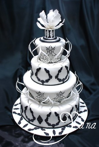 Black and White Wedding Cake por Yana's cakes.