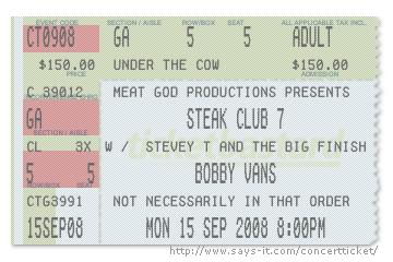 Bobby Vans Steak Club 7 Ticket