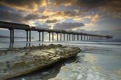 The Light behind the Scripps Pier (PatrickSmithPhotography) Tags: ocean california travel sunset wallpaper vacation usa seascape landscape pier sandstone seascapes sandiego laj