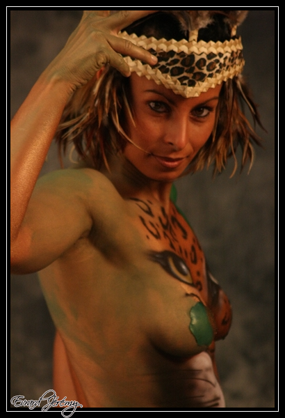 Primitive Style Female Body Painting