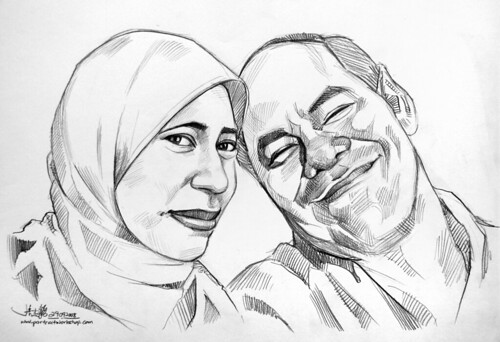 Pencil portraits of daughter and father