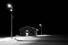 Ski Hut (Ken MacLeod Photography) Tags: winter snow cold norway night contrast dark outdoors highcontrast lodge negativespace lightposts 2007 hemsedal nobackground