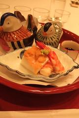 First:Tofu with <em>uni</em> and shrimp, vegetable <em>ohitashi</em>, clam