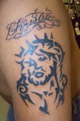 christian jesus (tatsbyfreakyd) Tags: tattoo arm jesus tribal christian