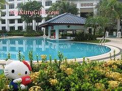 Hello Kitty at Flower Bed next to Swimming Pool of Holiday Inn Glenmarie Hotel, Malaysia