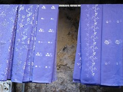 Purple scarves on display - Sanilurfa, Turkey