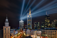 Frankfurt Skyline with an extra (Philipp Klinger Photography) Tags: street light sky cloud tower cars church car skyline night clouds skyscraper germany square deutschland lights europa europe long exposure hessen frankfurt beam philipp dri hdr zeil hdri hochhaus hauptwache hesse wolkenkratzer zeilgalerie klinger superaplus aplusphoto dcdead alemdagqualityonlyclub