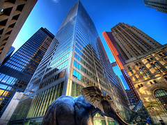mammoths (paul bica) Tags: pictures sky toronto hot color colour building tower art glass colors beautiful beauty architecture facade digital skys