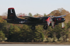 "A-26 Invader ""Sprit of North Carolina"" (Just Plane Photography) Tags: world two america airplane flying nc war wwii jerry north landing formation airshow pilatus american monroe carolina warrior invader mustang douglas veteran trojan takeoff zero mitsubishi dauntless warbird nakajima bac p51 p3 sprit sbd jeffers t28 a26 l29 strikemaster fockewulf b5n a6m2 fw149 viper29"