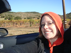 Jody and her hood - on the way to Napa