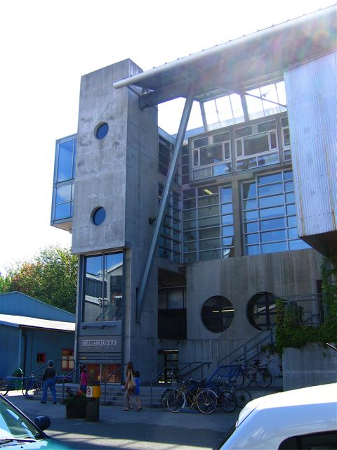the entrance to the design building