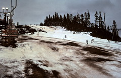 gm_16514 Grouse Mountain, The Cut, Spring Skiing 1978 (CanadaGood) Tags: people white mountain snow canada color colour tree sports analog person evening skiing bc britishcolumbia slidefilm 1978 kodachrome northvancouver seventies grousemountain canadagood slidecube