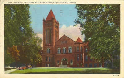 Law Building, University of Illinois, Champaign-Urbana -- old postcard from my dad to his parents