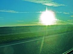 White Hole Sun (Teeth Don't Grind) Tags: road blue sun green clouds longisland dirtywindow northfork sunsetish sunspotsarefading