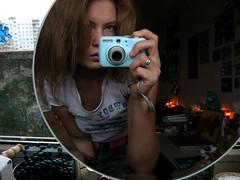 mrcz_0147 (mariczka) Tags: camera blue portrait woman selfportrait reflection home me girl face digital canon mirror tshirt portraiture let introduce canongirl explored imacanongirl mariczka saltivka canonpowershote1
