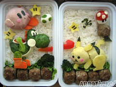 Bento #15: Super Smash Bros. Brawl! (AnnaTheRed) Tags: food kirby geek pikachu videogame bento yoshi gamewatch supersmashbrothersbrawl kyaraben