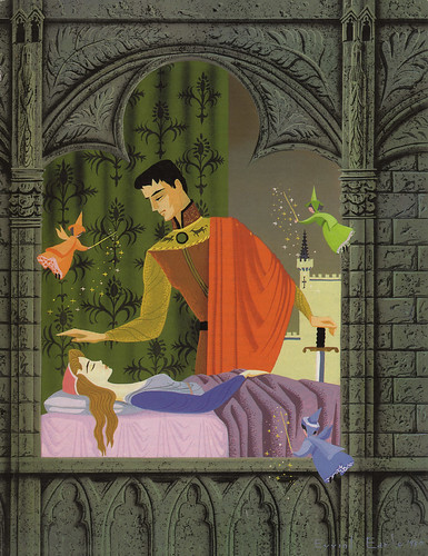 "Sleeping Beauty ""Big Golden Book"" Art by Eyvind Earle, 1957 da Miehana."
