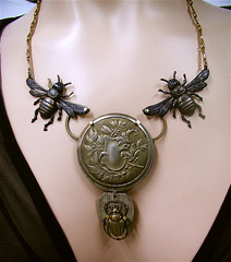 Antique Green Man Steampunk Necklace (MadArtjewelry) Tags: oneofakind bees beetle foundobjects etsy greenman steampunk steamteam watchpartsnecklace