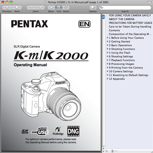 Pentax K2000 / K-m Operating Manual