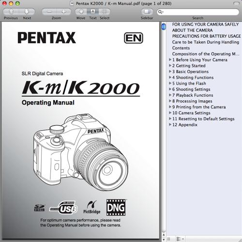 Pentax K2000 / K-m Operating Manual