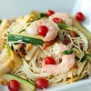 Figgy Angel Hair Pasta with Tomberries, Artichokes, Courgettes, Shrimps & Pine Nuts