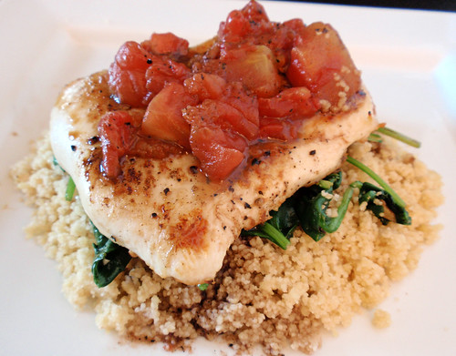 Balsamic Chicken with Baby Spinach and Couscous