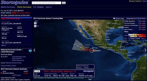 Ruta del huracán Adrian