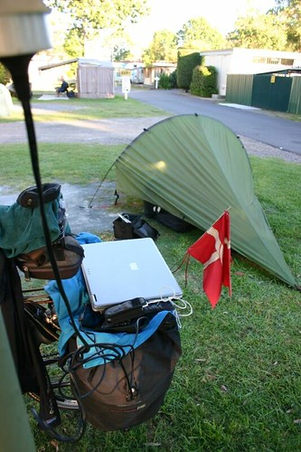 Recharging the laptop in a Batemans Bay Caravan Park, NSW.