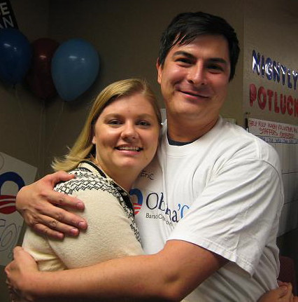 Amber and Erik at the IOWA CAUCUS RESULTS Watch Party - Phoenix AZ