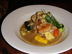 Chicken breast on a bed of mash potatoes at Leith's Bar Diesel, Edinburgh