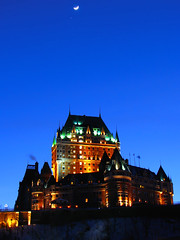 Moon over Chateau Frontenac - Quebec (Nino H) Tags: city blue winter sky moon canada building architecture night hotel quebec qubec hour chateau nuit soe ville vieux frontenac oldquebec nohdr abigfave shieldofexcellence anawesomeshot photoquebec