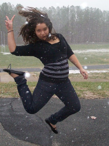 Teen Girl Jumping in the Snow by britt [is rad].