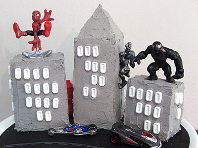 Spiderman City Cake