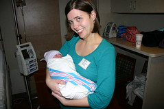 Suzanne and Madelyn on the day she was born