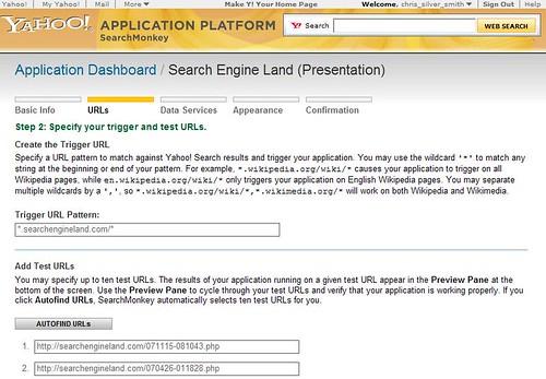 Yahoo SearchMonkey - URLs Page