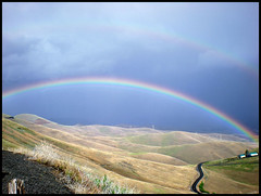 Rainbow Ride (Doug Goodenough) Tags: bicycle bike spiral hwy lewiston idaho pedal rainbow storm squall 08 2008 june scott river clouds ride valley sky grey hills road biking riding climb arc color prism grass douggoodenough drg531 pedals spokes cycle drg53108 drg53108p