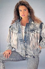Run for your lives!!! Its the 80s!!! (MsBlueSky) Tags: wild female pose fringe kitsch bighair jeans jacket 80s tacky wtf brunette 1980s cheesy badtaste acidwash badfashion neveragain embarrassing tassels 80shair acidwashjeans 80shell acidwashjacket