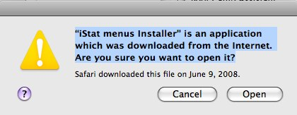 Mac OS X 10.5.2 warning about downloadable software