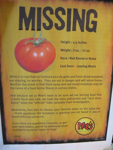 Missing sign posted at Moe's