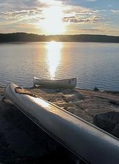 Canoes on Shell Lake (Jimi M) Tags: sun canoe area waters boundary boundarywaters bwca bwcaw canoecamping boundarywaterscanoeareawilderness canoeonrock landedcanoe