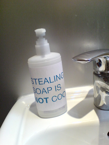 Stealing soap is NOT cool