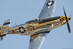 P-51 Mustang (mvonraesfeld) Tags: blue sky history classic metal museum flying shiny fighter bare aircraft aviation air wwii flight machine airshow mustang prop warbird chino p51 northamerican